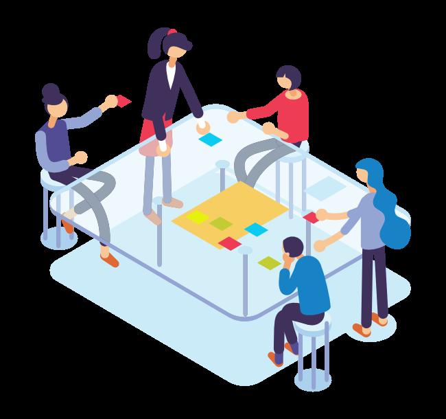 Ilustración Personas trabajando juntas en tablero seleccionado personas